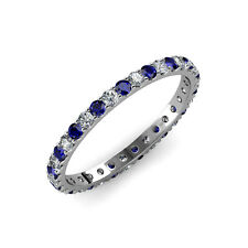Blue Sapphire & Diamond U-Prong Eternity Band 2.20 ct tw-2.53 ct tw in 14K Gold