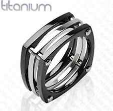 Mens solid titanium ring with IP Black Squared Bolts wedding band cool wedding
