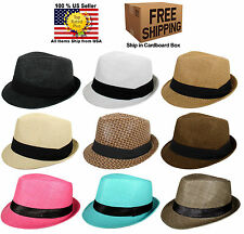 NEW STRAW SUMMER FEDORA TRILBY CUBAN STYLE UPTURN SHORT BRIM CAP HAT MANY COLORS