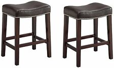 "Faux Leather Wood Saddle Stool Chair Espresso Seat & Legs 24"" or 29"" Set of 2"