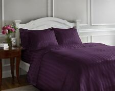 600TC Aubergine Striped Soft Sheet Set 100% Cotton, 15 Different Sizes & Pocket