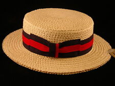 Mens Gatsby style straw boater barbershop 1920's 1930's Boardwalk style hat S-XL