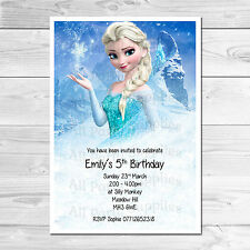 Personalised Frozen Elsa Kids Birthday Party Invites Includes Envelopes
