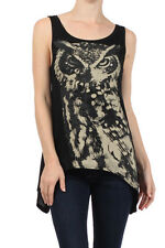 IC21 New Cute Owl Printed Sleeveless Blouse