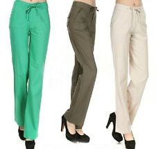 New Women's Casual Trousers Linen Drawstrings Straight-leg Pants S-XL 6 Colors