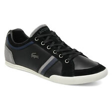 Lacoste Shoes Men Rayford Black Leather Suede Sneakers Tennis Shoes NEW $140