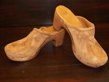 New Womens UGG ABBIE Chestnut Suede Clog Wooden Heel Studs Shoes All Sizes