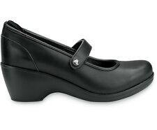 New CROCS Ginger Women's Leather Slip-resistance Work Shoes SZ 6 7 8 9 10 Black