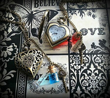 Alice in Wonderland Inspired Drink Me Heart Pocket Watch Necklace - Red or Blue