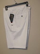 NWT$70 UNDER ARMOUR MENS FORGED STRIPE 3.0 GOLF SHORTS 1236347 WHITE # 100