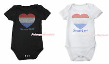 World Cup Rhinestone Netherlands Flag Heart Black White Baby Jumpsuit NB-12Month