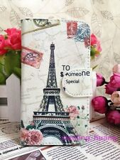 Special Postmark Retro Eiffel Tower Flip Leather Case Skin for Lenovo/HTC/ZTE