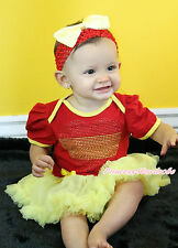 World Cup Rhinestone Spain Heart Red Bodysuit Yellow Girl Baby Dress NB-18Month