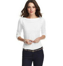NWT Ann Taylor LOFT Lace Inlay Boatneck Tee White XS S M XL