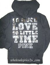 VICTORIAS SECRET PINK®BLING DIAMANTES FOIL SO MUCH LOVE SO LIL TIME HOODIE NWT L