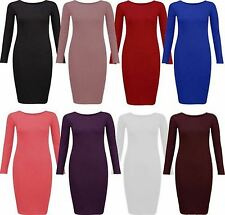 New Womens Plus Size Plain Full Sleeve Bodycon Midi Jersey Stretch Dress 12-22