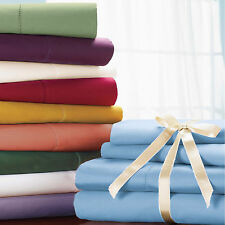 800TC OLYMPIC QUEEN 4PC SHEET SET SOLID 100%EGYPTIAN COTTON SELECT COLOR & DEEP