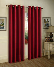 "FAUX SILK  Window Treatments Curtains Drape GROMMETS 63"" 84"" 95"" 108""  BURGUNDY"