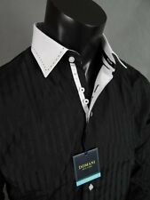Mens DOMANI Button Down Dress Shirt In Black With White Cuff And Collar!