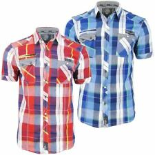 Mens Shirt By Dissident Short Sleeved Fashion Check 'Keefer'