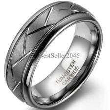 Comfort Fit 8mm Brushed Band Men's Tungsten Carbide Ring with Zig Zag Grooves