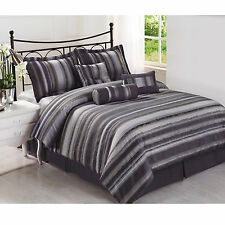 ROGERS 7pc Jacquard multi shades of grey Comforter Set FULL, QUEEN KING C-King