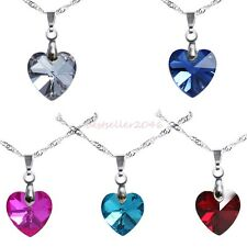 Charm Crystal Love Heart Pendant Necklace Ladies Birthday Girlfriend Gifts