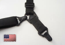 Airsoft MS3 Style Single & Double Point Sling (Black & Tan/Desert)