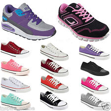 LADIES WOMENS CANVAS LACE UP PLIMSOLLS FLAT GYM SHOES SNEAKERS TRAINERS PUMPS
