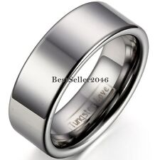 8mm Comfort Fit Classic High Polish Flat Tungsten Carbide Ring Anniversary Band