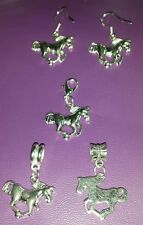 Running Horse R Charm Pick Silver Lobster Clip, European Dangle, Earrings .925