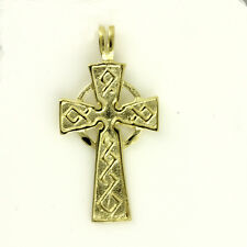 9ct Yellow Gold Welsh Design Celtic Cross Pendant with or without Gold Chain