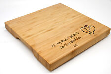Personalised Bamboo Cheeseboard or Chopping Board, Laser Engraved Birthday Gift