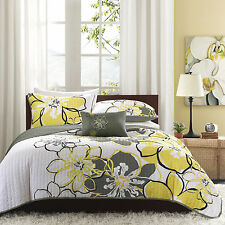 BEAUTIFUL MODERN CHIC GREY YELLOW WHITE FLORAL FLOWER TEXTURE SOFT QUILT SET