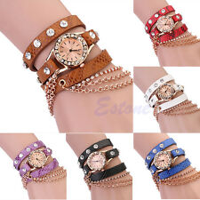 Fashion Girl Women Synthetic Leather Rhinestone Sling Chain Quartz Wrist Watch