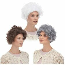 Mom GRANDMA old Lady Mrs. Claus Gray White Brown Blonde Hair Curly Costume Wig