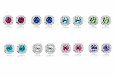 18K White Gold Plated Crystal 12mm Earrings Studs made with Swarovski Crystals