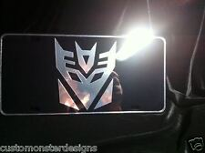 License Plate TRANSFORMERS Decepticon Megatron All Mirror Plate & Chrome Vinyls
