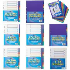 A4 X STRONG FILING SUBJECT DIVIDERS Tabbed Ringbinder Folder Indexing Sheets!