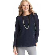 NWT Ann Taylor LOFT Long Sleeve Lace Top Navy Blue S M L PL 323186