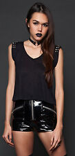 Lip Service Punk Goth Industrial Metal Stud Shoulders Open Back Cropped Top