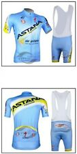 Astana Cycling Clothing Jersey & Bib Shorts Kit Sets Coolmax Padding A76