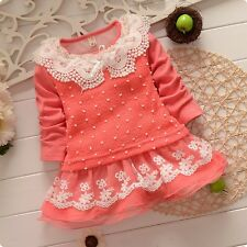 1PC New baby  girls Long Sleeve Cotton dress lace cute flower size:1-5 years