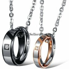 """"""" Forever Love """" Double Promise Rings Stainless Steel Pendant Couples Necklace"""