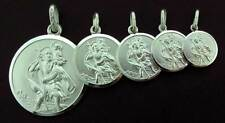 STERLING SILVER ROUND SAINT CHRISTOPHER PENDANT ST CHRIS CHARM FREE ENGRAVING
