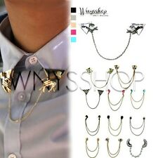 Women Collar Tips Speical Fashion Chain Studs Pin Brooch Pointed Blouse Shirt