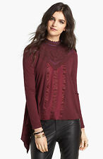 NWT Free People 'Gibson' Mixed Media Top in Wine  $118
