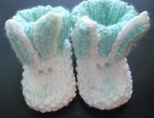 Hand knitted bunny baby booties