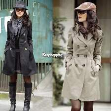 Women's Slim Fit Trench Charm Double-breasted Coat Fashion Jacket Outwear ES9P