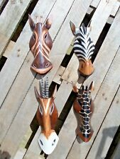 Fair Trade Hand Carved Wooden Giraffe  Zebra Gazelle Animal Wall Art Mask 30cm